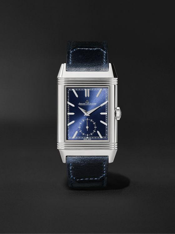 Jaeger-LeCoultre Reverso Tribute Duoface Hand-Wound 28.3mm Stainless Steel and Leather Watch, Ref. No. 3988482