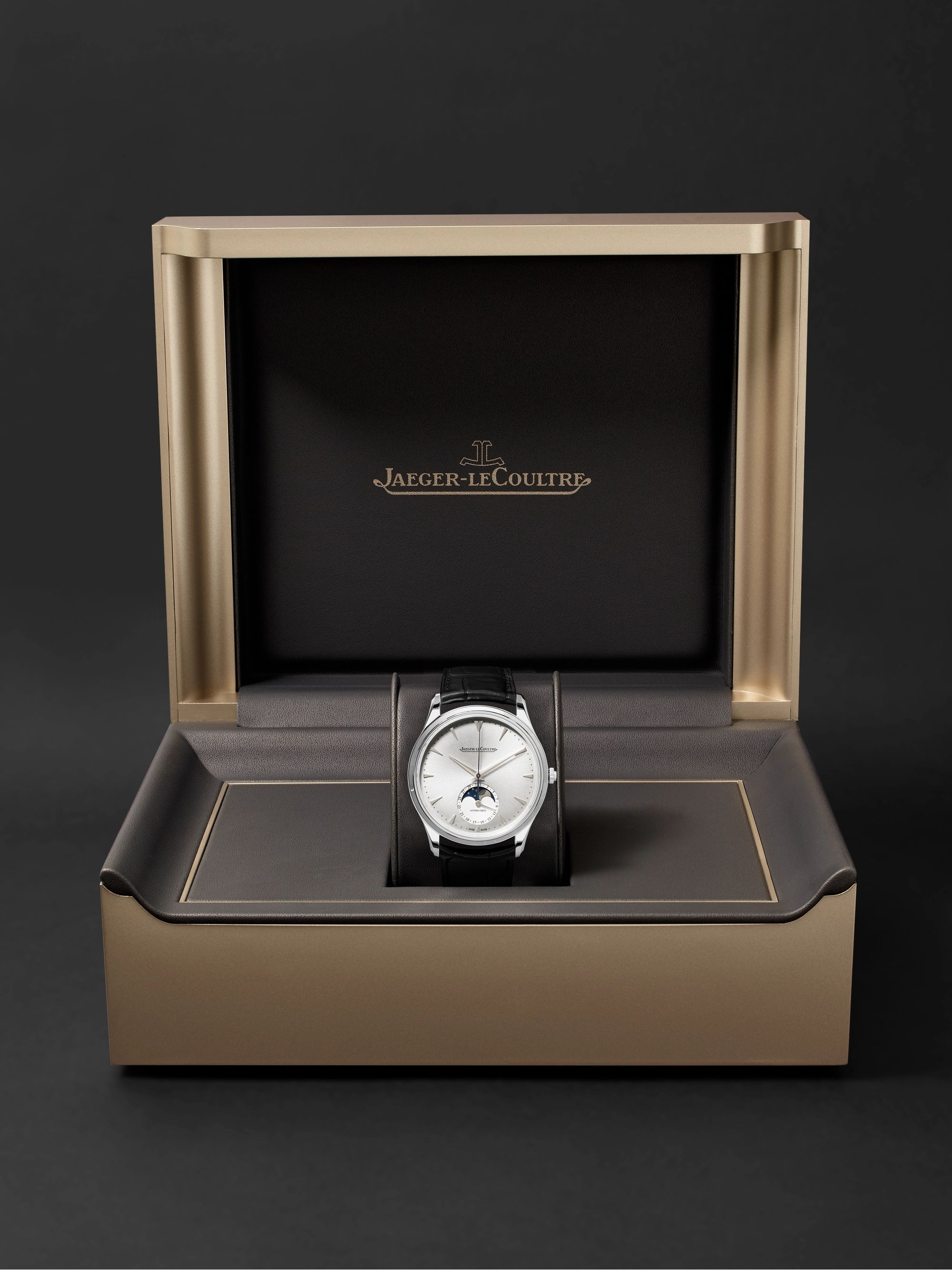 JAEGER-LECOULTRE Master Ultra Thin Moon Automatic 39mm Stainless Steel and Alligator Watch, Ref. No. JLQ1368420