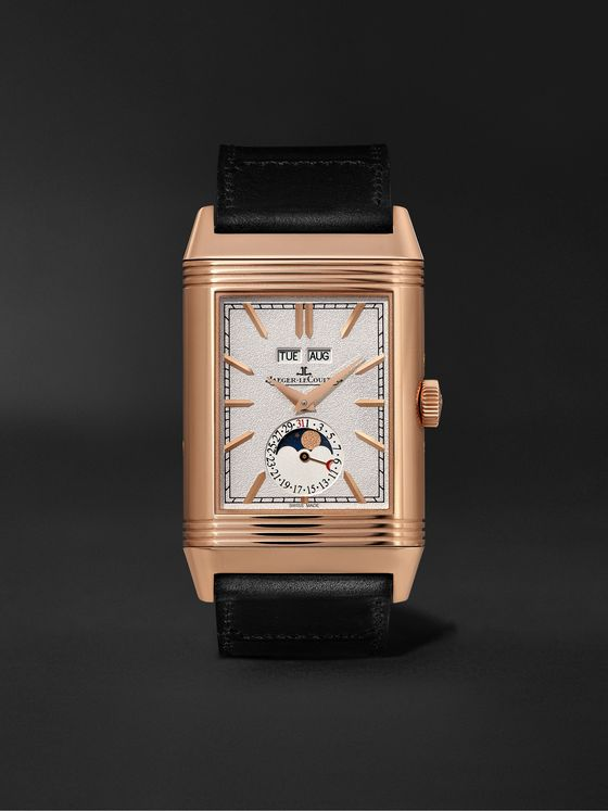 JAEGER-LECOULTRE + Casa Fagliano Reverso Tribute Calendar Limited Edition Hand-Wound 29.9mm 18-Karat Rose Gold and Leather Watch, Ref. No. 3912420
