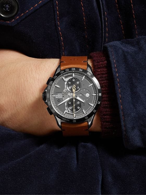 Baume & Mercier Clifton Club Indian Motorcycles Automatic Chronograph 44mm Stainless Steel and Leather Watch, Ref. No. M0A10402