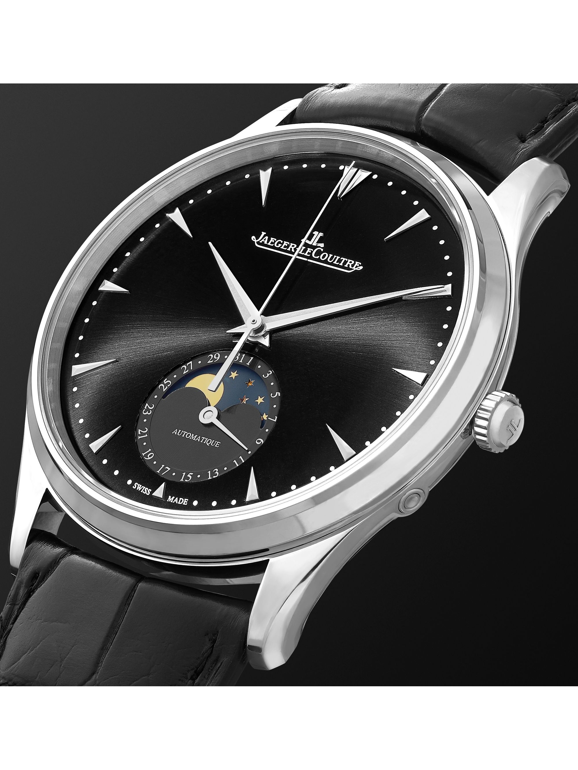 Jaeger-LeCoultre Master Ultra Thin Moon Automatic 39mm Stainless Steel and Leather Watch, Ref. No. Q9008480