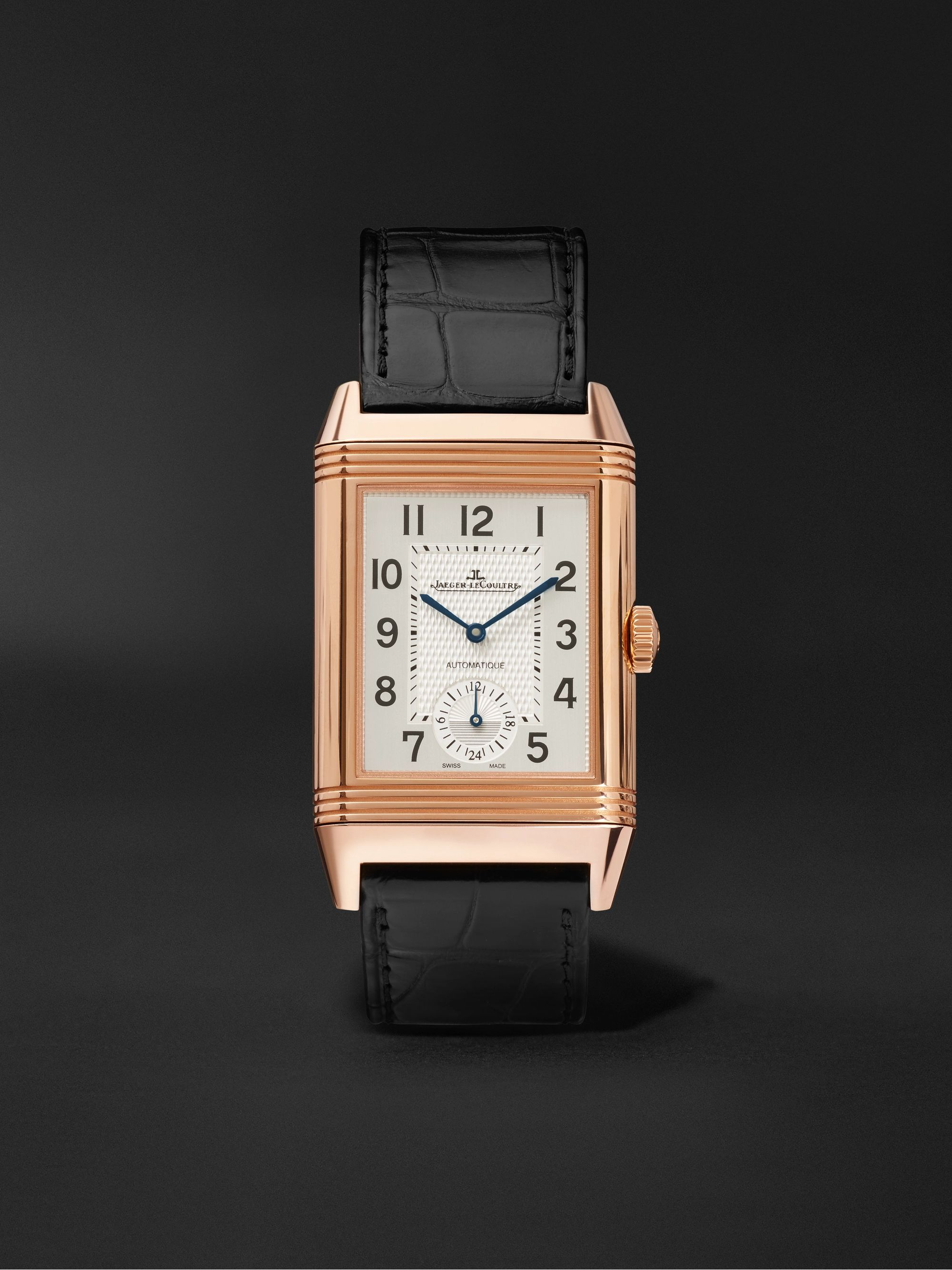 Jaeger-LeCoultre Reverso Classic Large Duoface Automatic 28mm 18-Karat Rose Gold and Alligator Watch, Ref. No. Q1368470