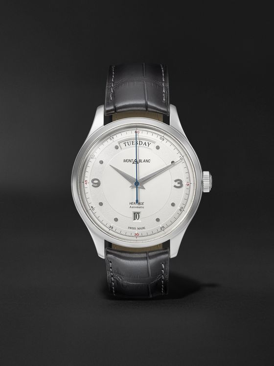 MONTBLANC Heritage Automatic Day-Date 39mm Stainless Steel and Alligator Watch, Ref. No. 119947
