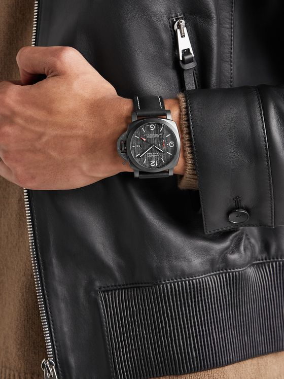 PANERAI Luminor Luna Rossa Challenger Automatic GMT and Flyback Chronograph 44mm Titanium and Leather Watch, Ref. No. PAM01036