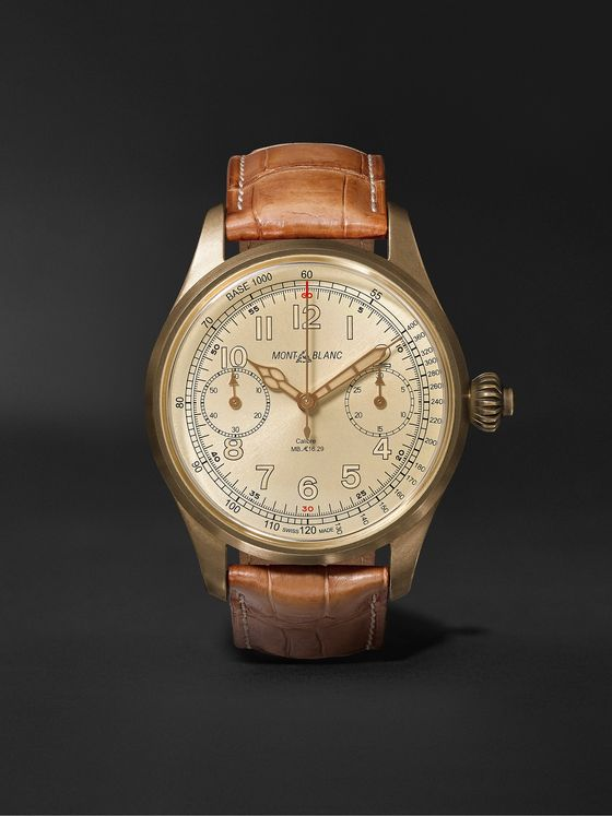 MONTBLANC 1858 Chronograph Tachymeter Limited Edition 100 44mm Bronze and Alligator Watch, Ref. No. 116243