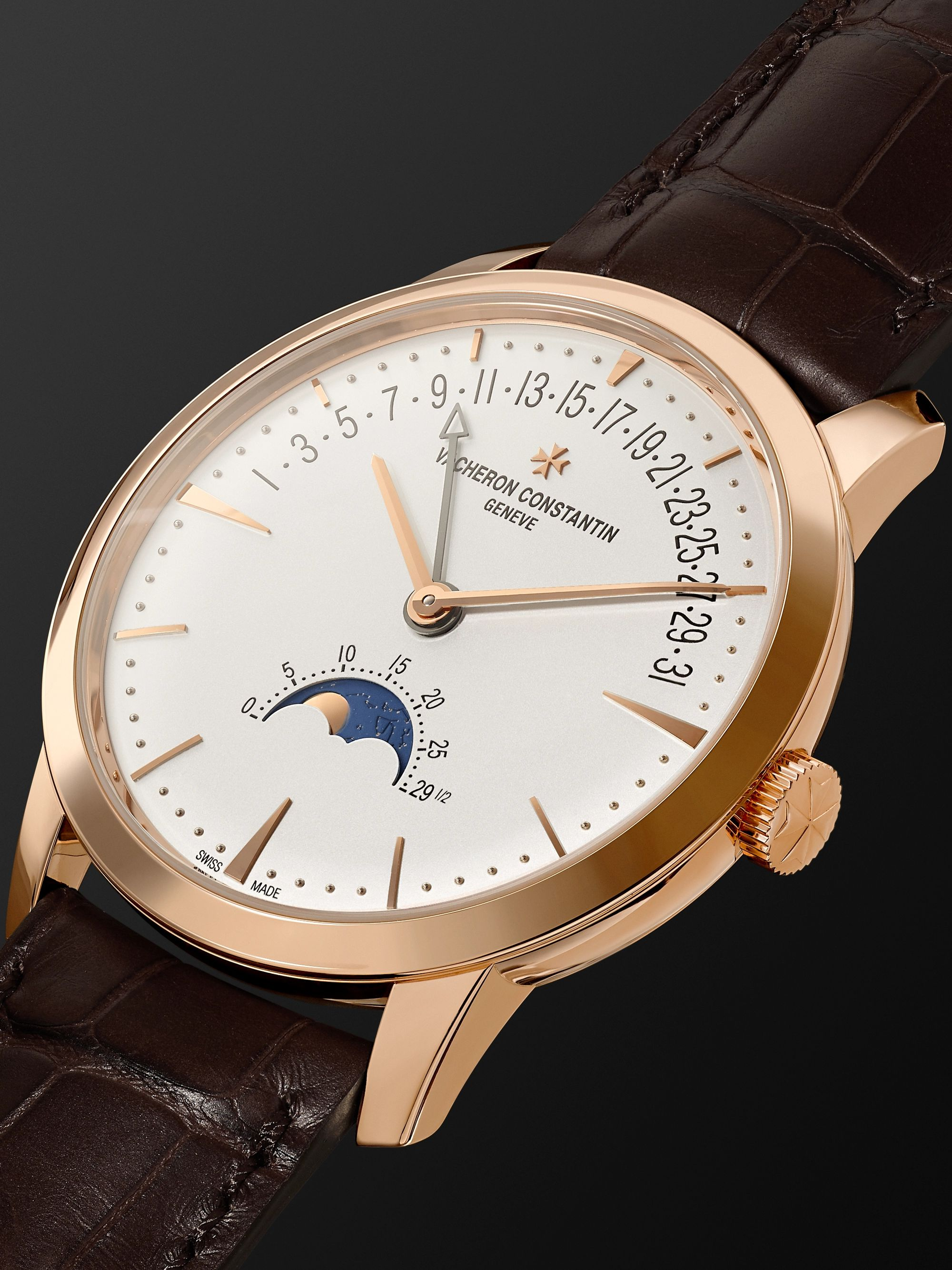Vacheron Constantin Patrimony Moon Phase and Retrograde Date Automatic 42.5mm 18 Karat Pink Gold and Alligator Watch, Ref. No. 4010U/000R-B329