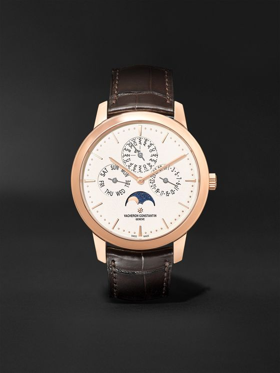 Vacheron Constantin Patrimony Perpetual Calendar Automatic 41mm 18-Karat Pink Gold and Alligator Watch, Ref. No. 43175/000R-9687