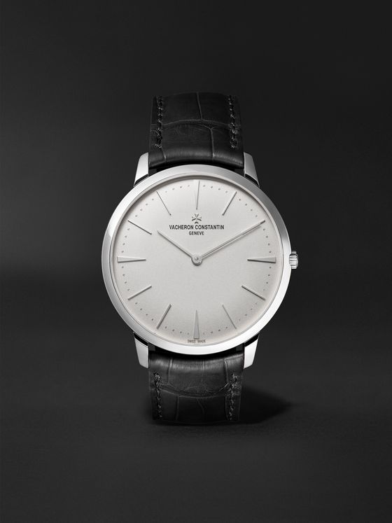 Vacheron Constantin Patrimony Hand-Wound 40mm 18-Karat White Gold and Alligator Watch, Ref. No. 81180/000G-9117 X81G6987