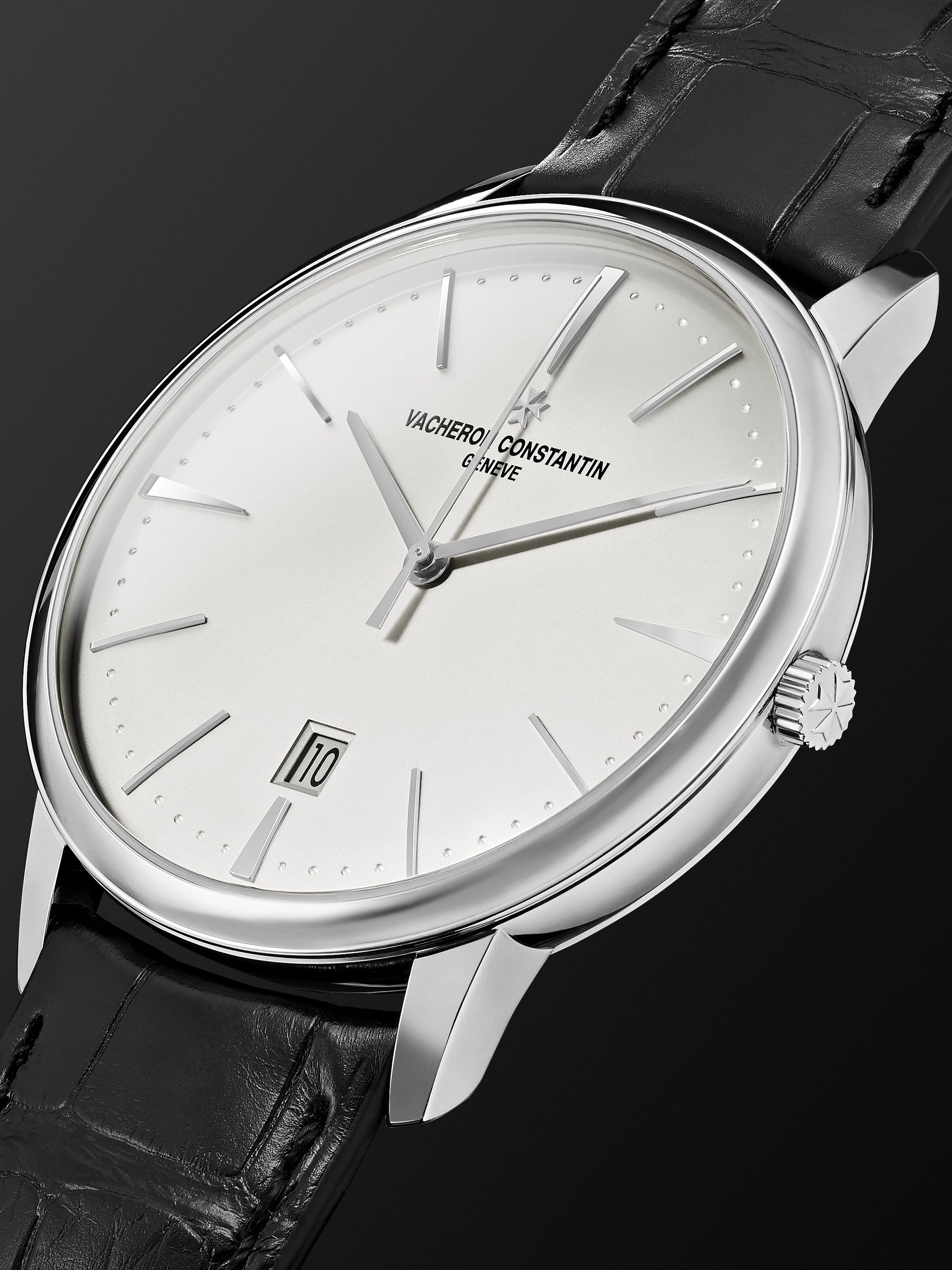 Vacheron Constantin Patrimony Automatic 40mm 18-Karat White Gold and Alligator Watch, Ref. No. 85180/000G-9230