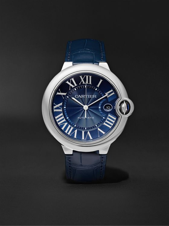 CARTIER Ballon Bleu de Cartier Automatic 42mm Steel and Alligator Watch, Ref. No. CRWSBB0025