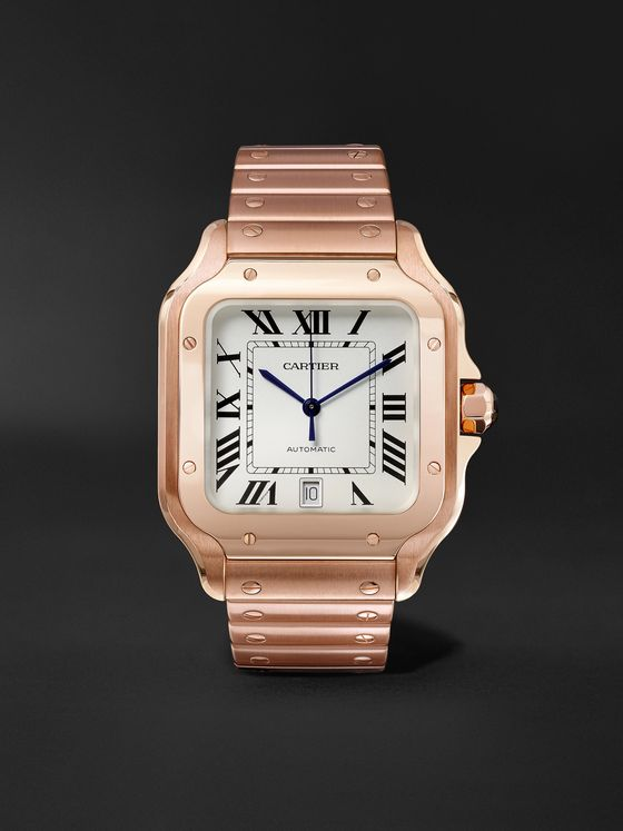 CARTIER Santos Automatic 39.8mm 18-Karat Pink Gold Interchangeable Alligator Watch, Ref. No. WGSA0007