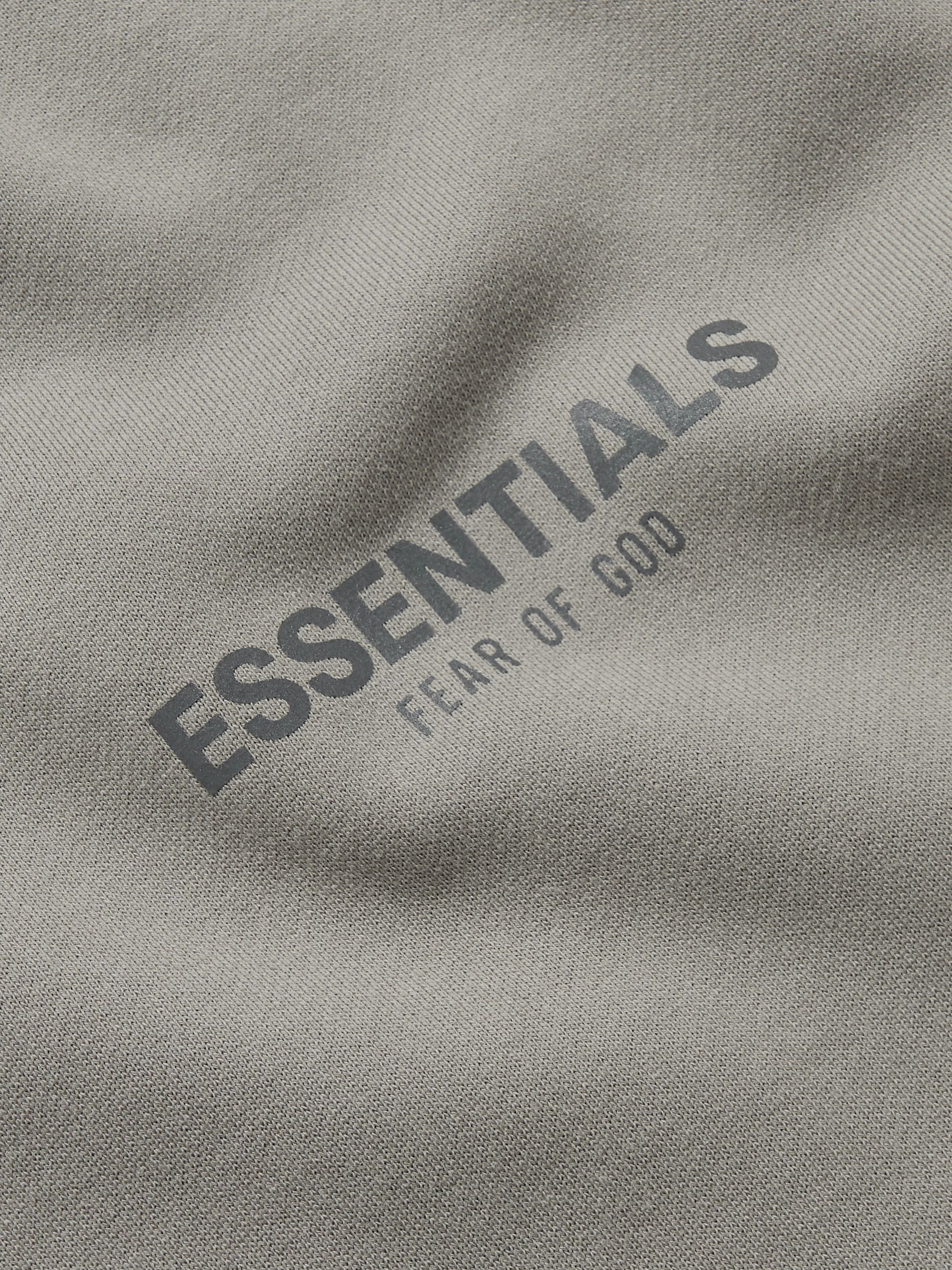 Fear of God Essentials Logo-Print Mélange Fleece-Back Cotton-Blend Jersey Mock-Neck Sweatshirt