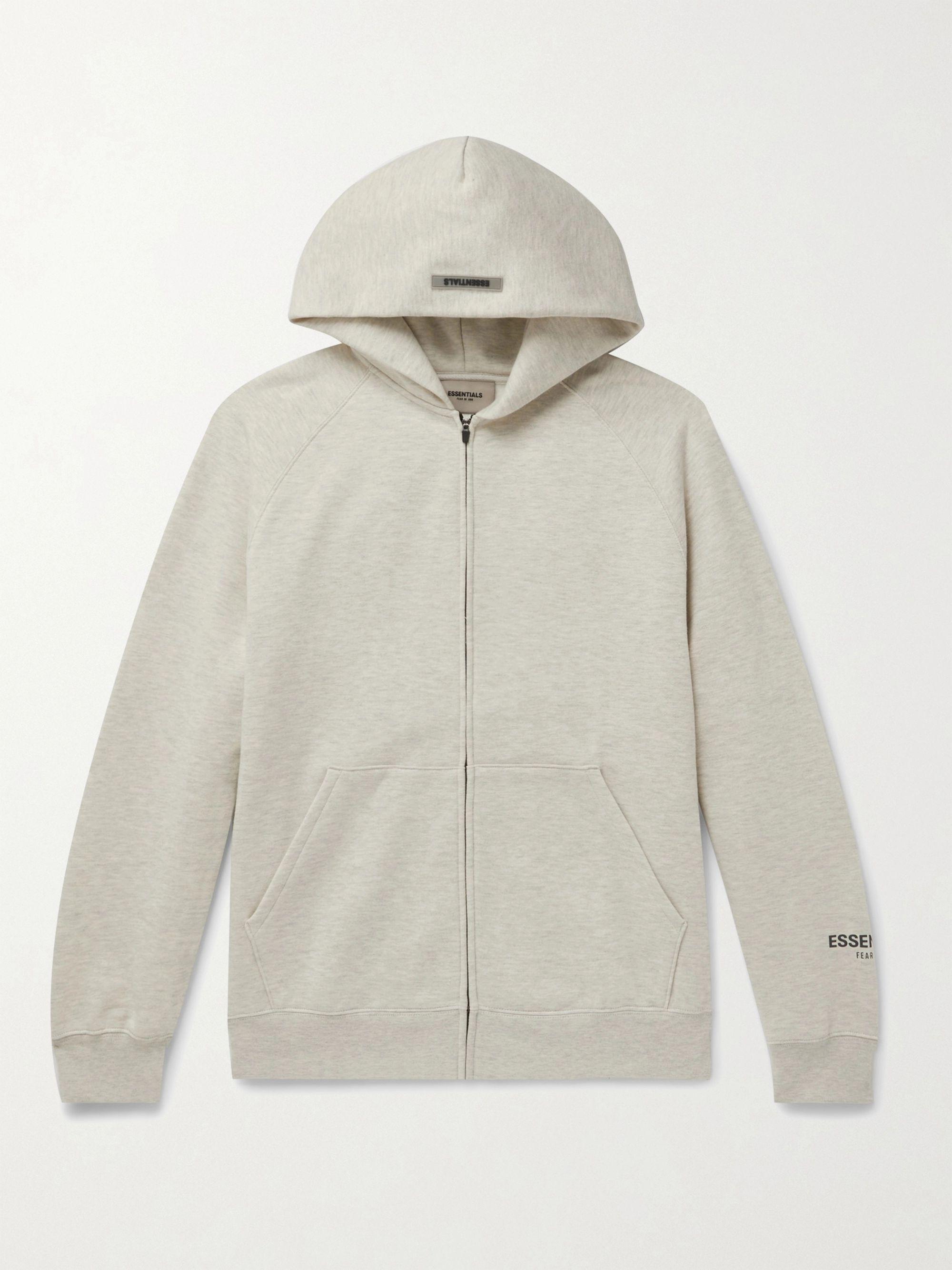 Light Gray Logo-appliquéd Mélange Fleece-back Cotton-blend Jersey Zip-up Hoodie | Fear Of God Essentials
