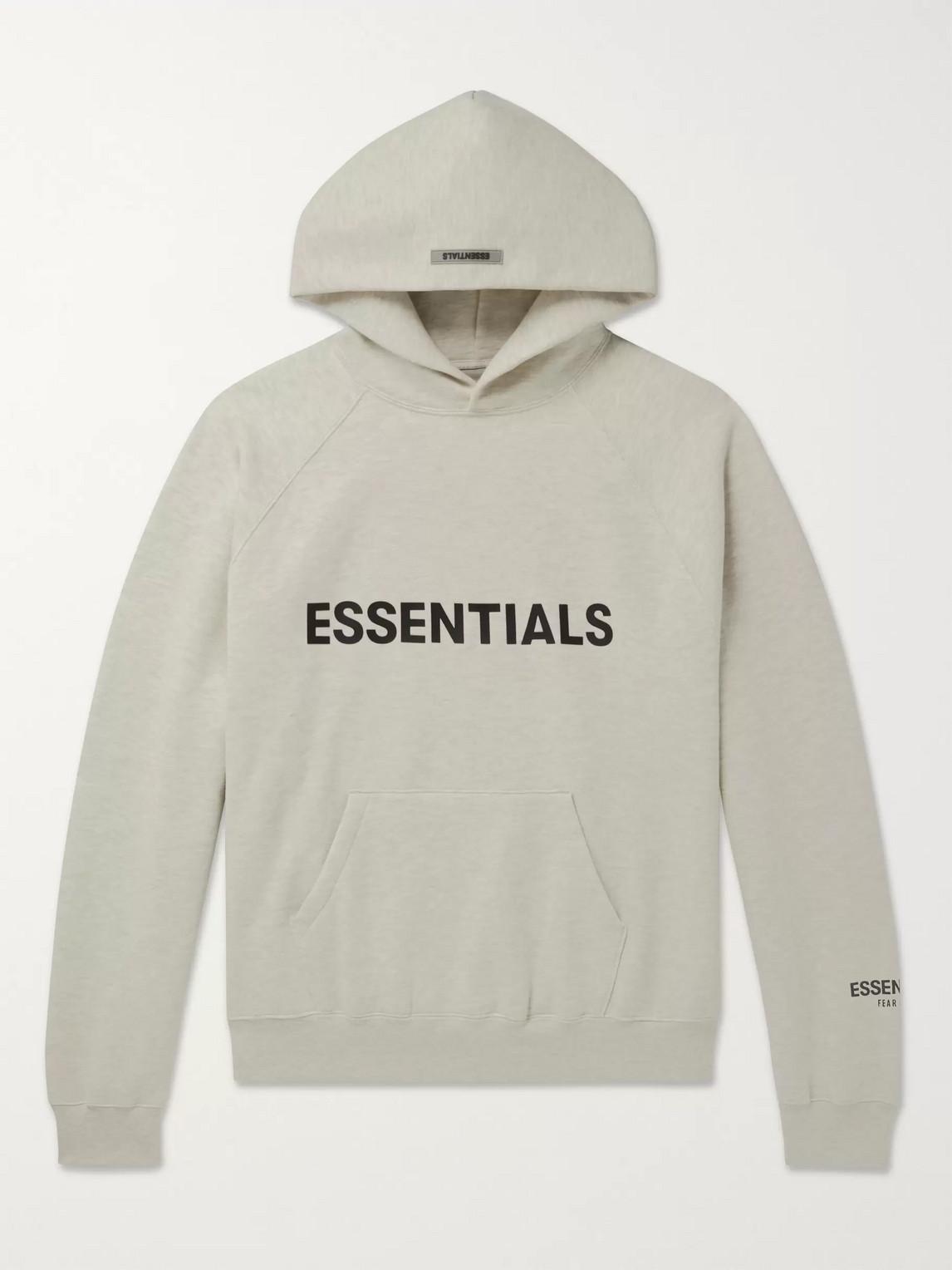 Fear Of God Essentials Logo-appliquÉd MÉlange Fleece-back Cotton-blend Jersey Hoodie In Gray