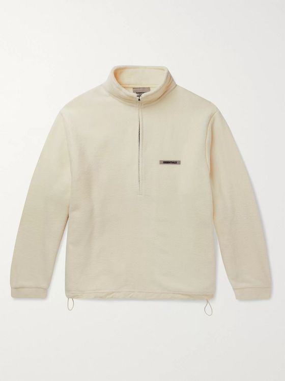Fear of God Essentials Logo-Appliquéd Fleece Half-Zip Sweater