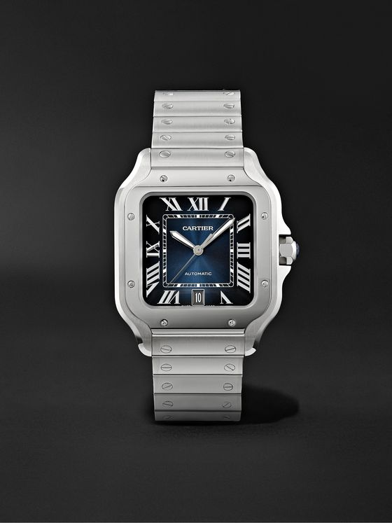 CARTIER Santos de Cartier Automatic 39.8mm Interchangeable Stainless Steel and Leather Watch, Ref. No. WSSA0013