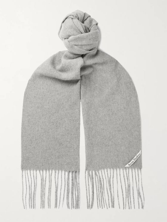 Acne Studios Fringed Mélange Wool Scarf