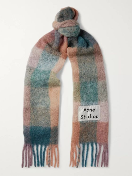 Acne Studios Fringed Logo-Appliquéd Checked Knitted Scarf