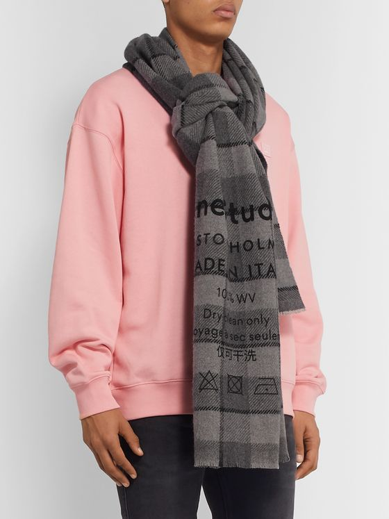 Acne Studios Fringed Printed Checked Wool Scarf
