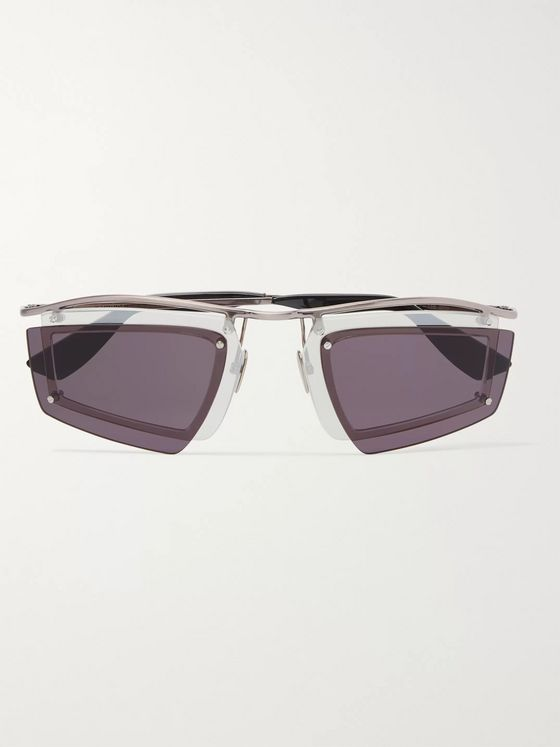 Acne Studios Layered Aviator-Style Silver-Tone Sunglasses