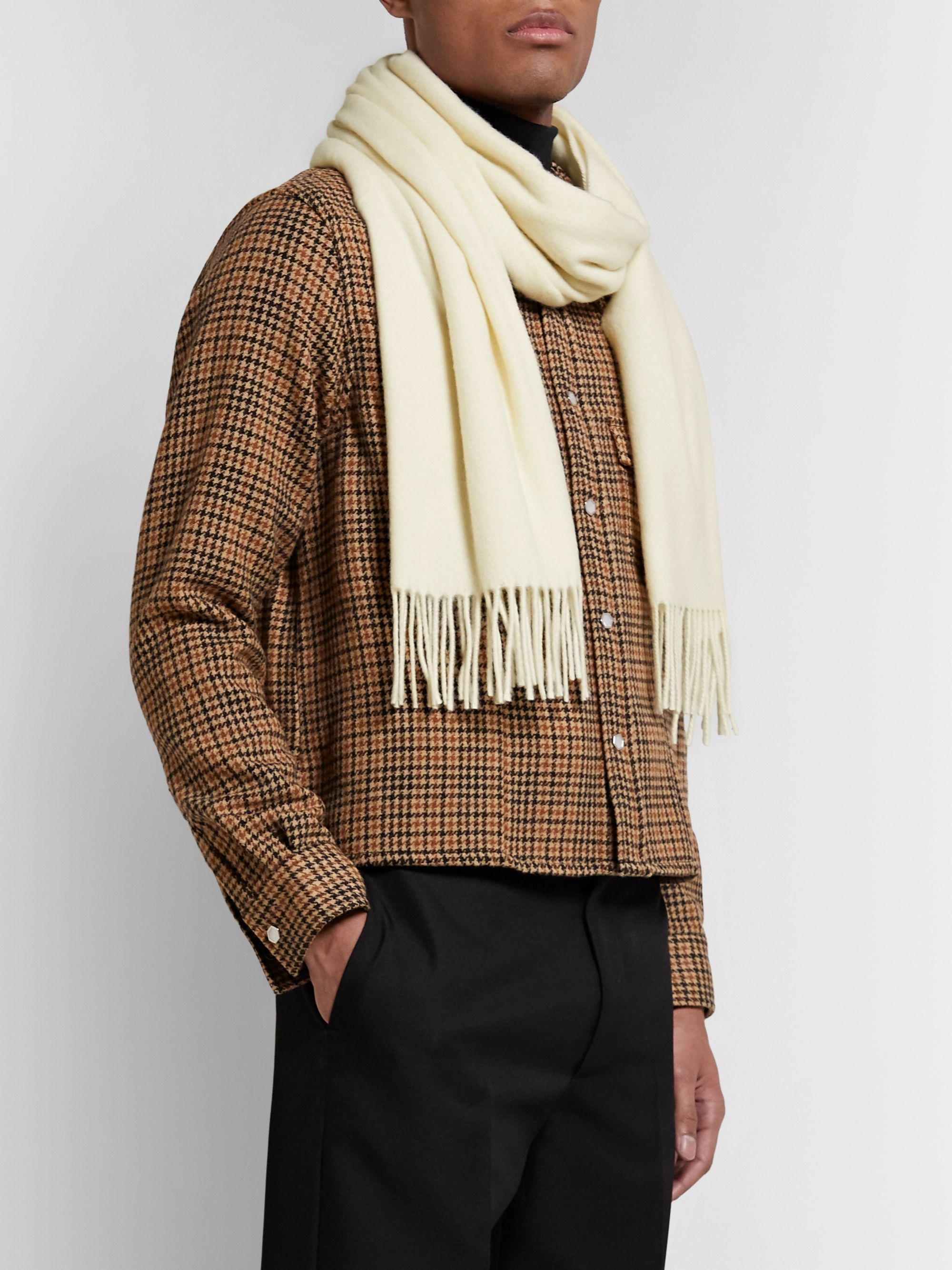 White Fringed Wool Scarf | Acne Studios