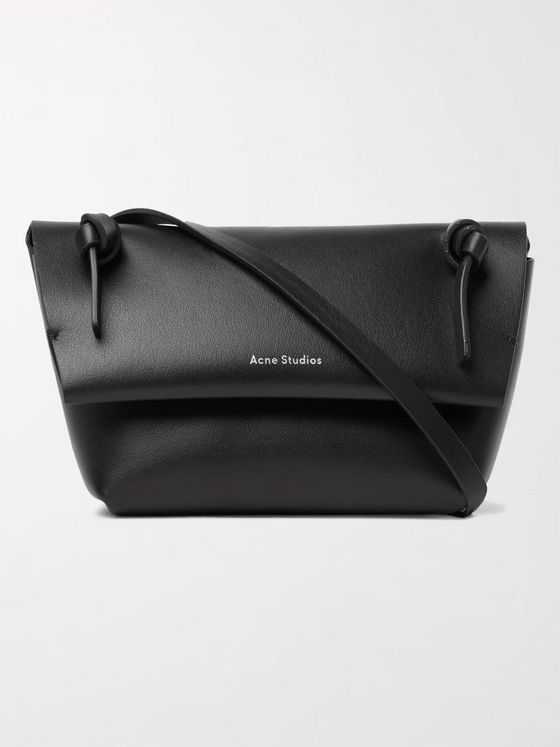 Acne Studios Mini Logo-Print Leather Messenger Bag