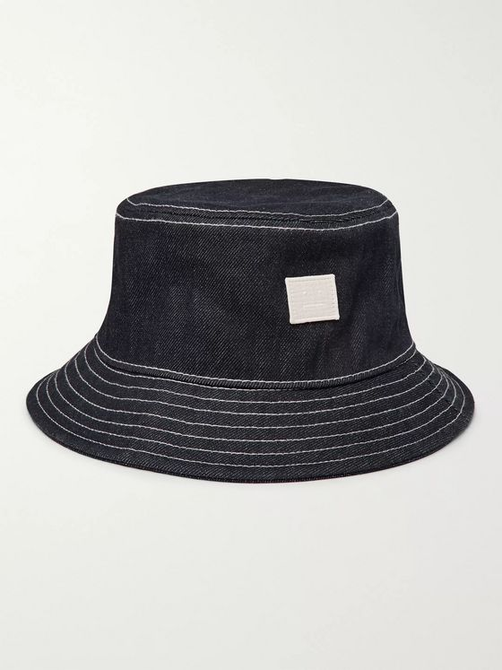 Acne Studios Logo-Appliquéd Denim Bucket Hat