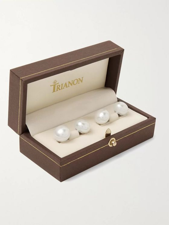Trianon White Gold Pearl Cufflinks