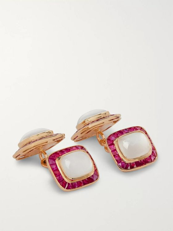 Trianon 18-Karat Gold, Quartz and Ruby Cufflinks