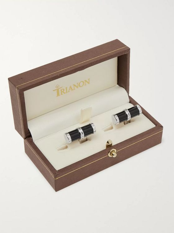 Trianon White Gold Onyx Cufflinks