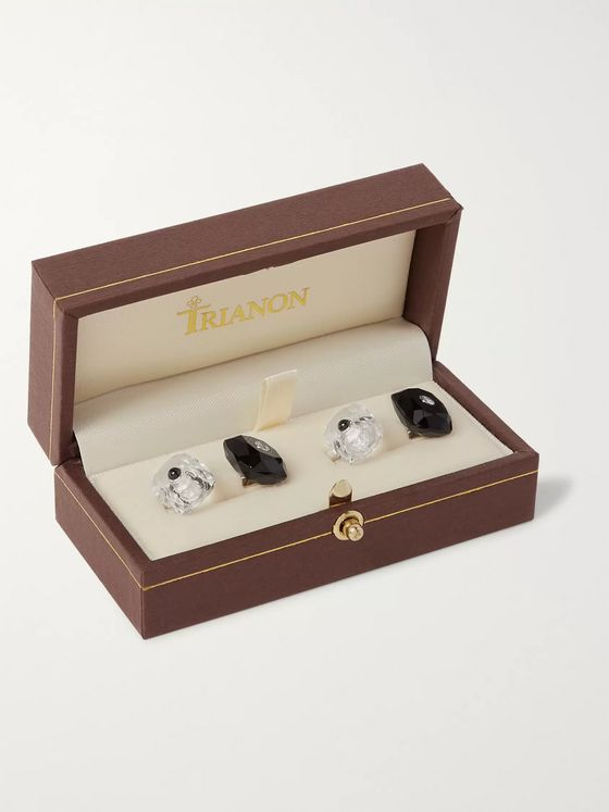 Trianon 18-Karat White Gold, Onyx, Crystal and Diamond Cufflinks