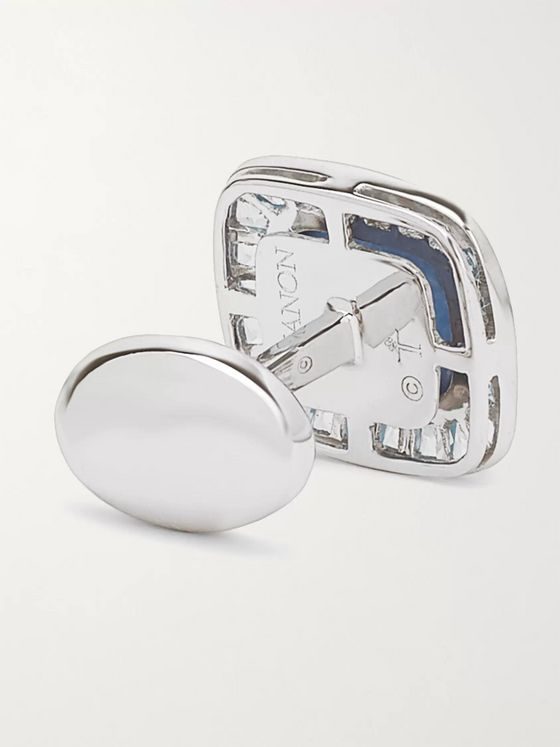 Trianon 18-Karat White Gold, Sapphire and Topaz Cufflinks