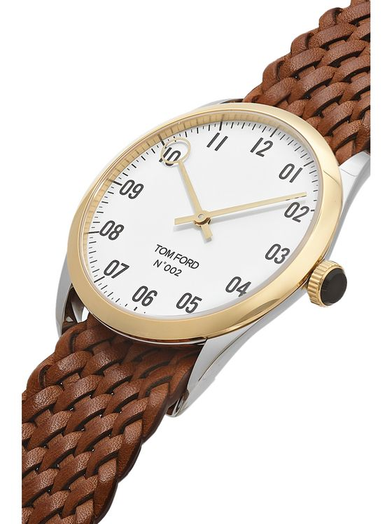 TOM FORD TIMEPIECES 002 38mm Stainless Steel, 18-Karat Gold and Braided Leather Watch