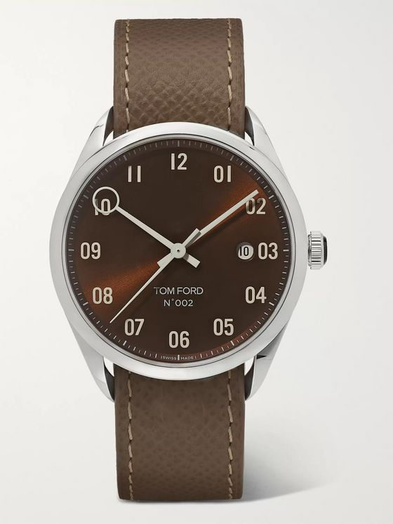 Tom Ford Timepieces 002 40mm Automatic Stainless Steel and Pebble-Grain Leather Watch