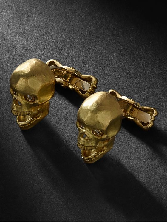 Deakin & Francis Skull 18-Karat Gold and Diamond Cufflinks