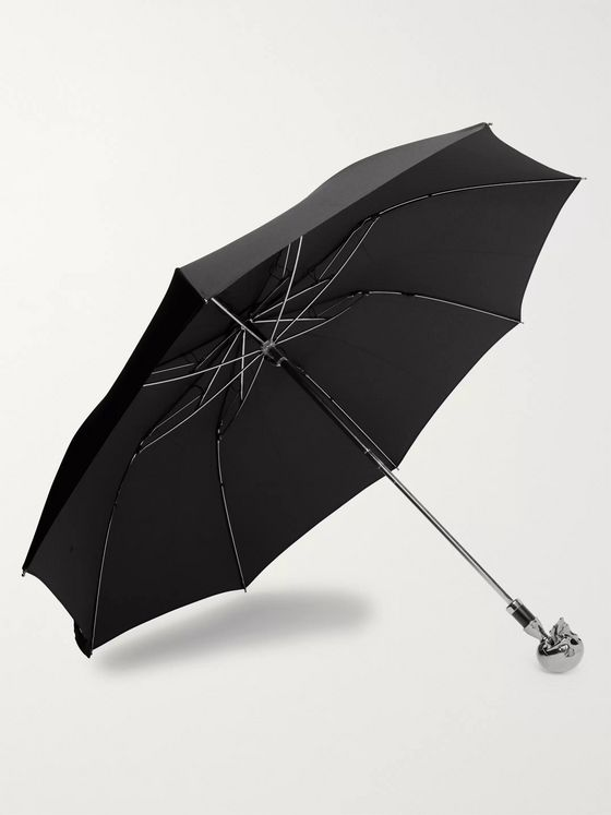 Deakin & Francis Nickel-Plated Skull-Handle Umbrella