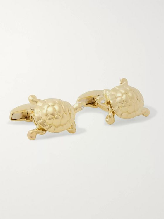 Deakin & Francis Walking Tortoise 18-Karat Gold and Diamond Cufflinks