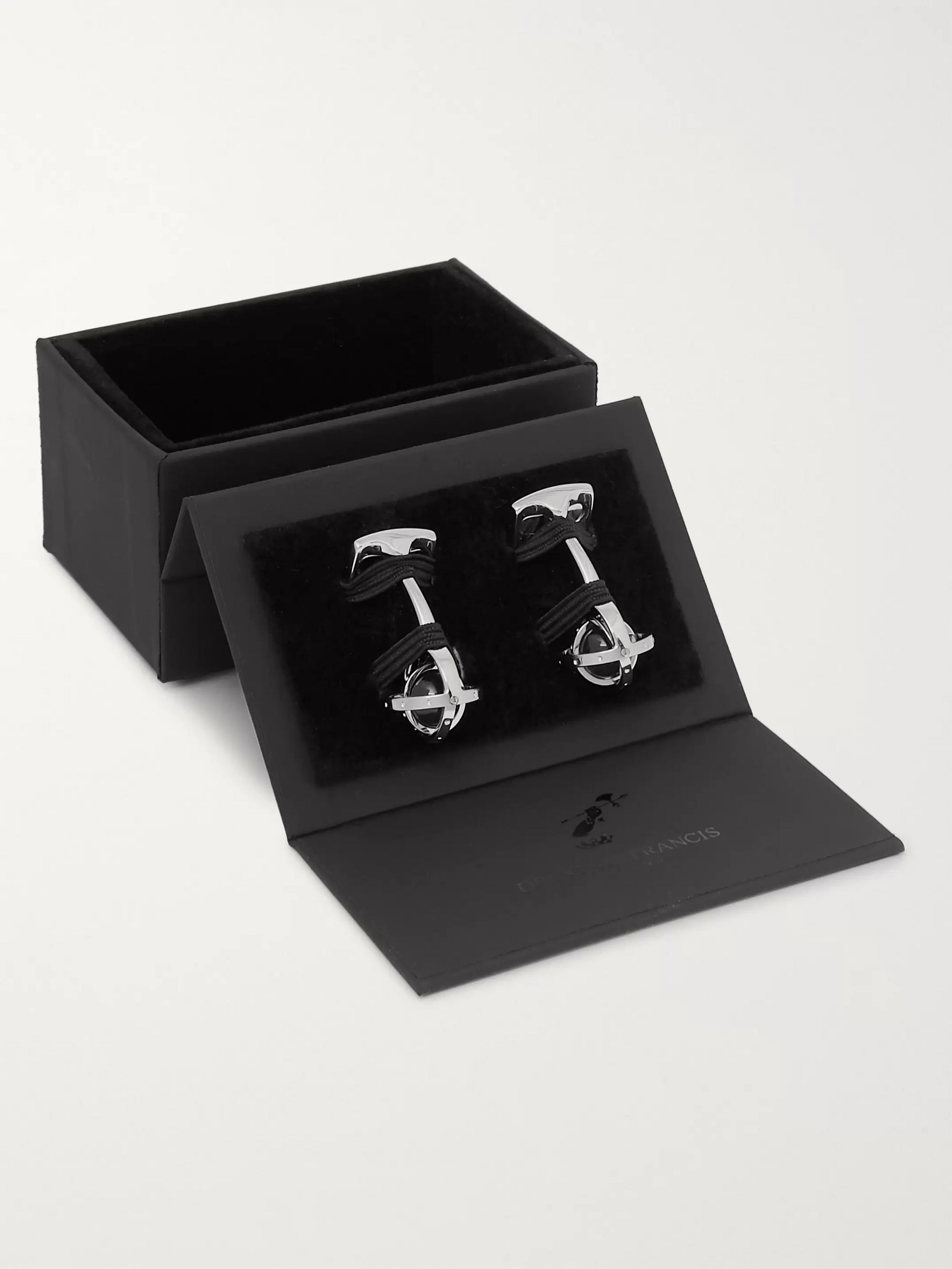 Deakin & Francis Gimbal Rhodium-Plated and Quartz Cufflinks