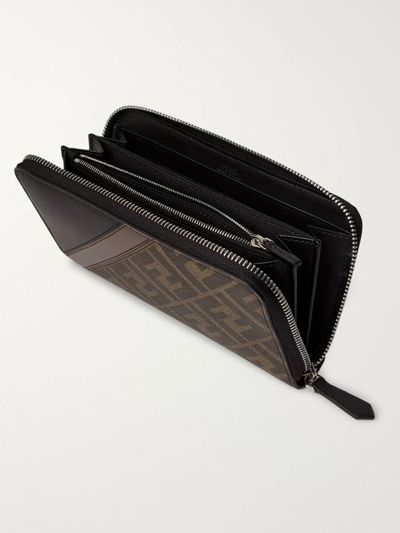 Fendi Logo-Print Coated-Canvas and Leather Zip-Around Wallet