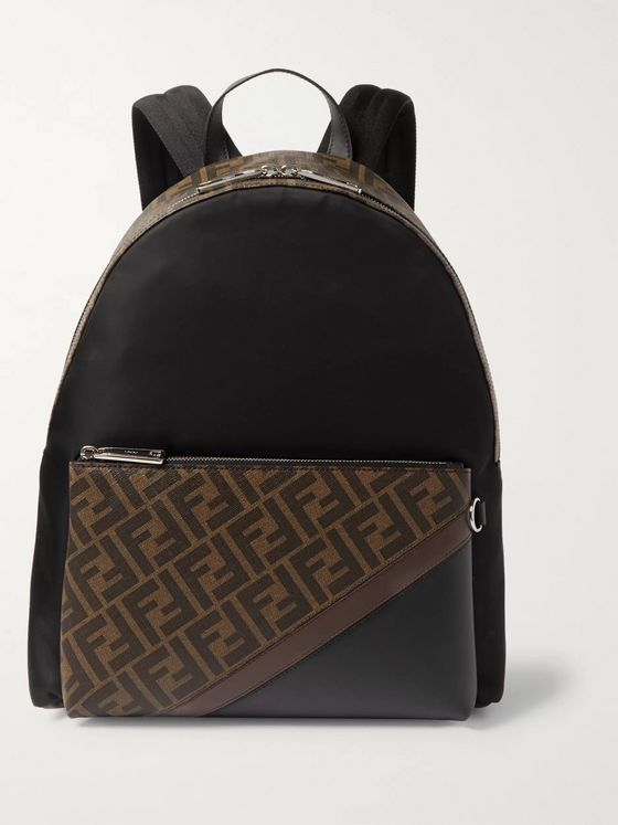 Fendi Logo-Print Coated-Canvas and Shell Backpack