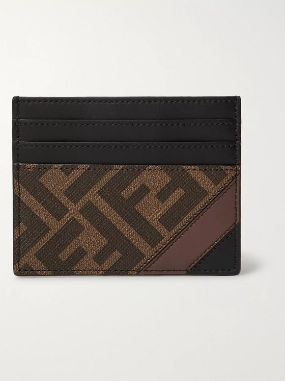 Fendi Logo-Print Coated-Canvas and Leather Cardholder