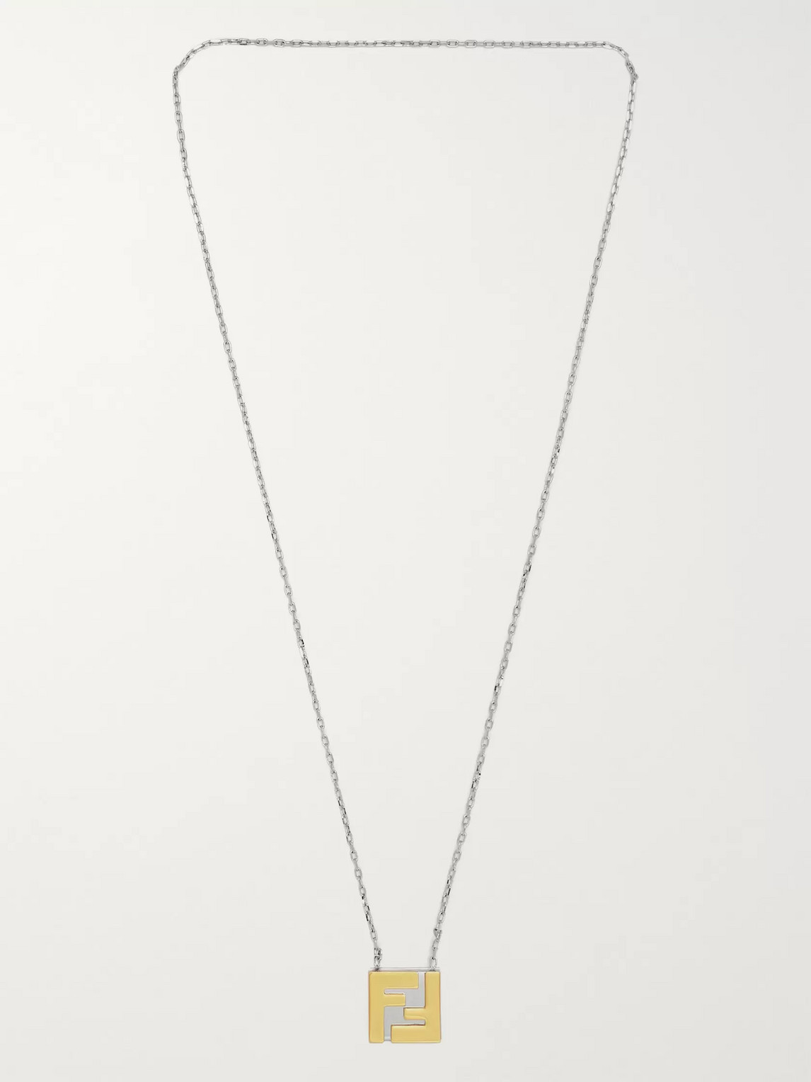 Fendi Logo-detailed Silver And Gold-tone Necklace