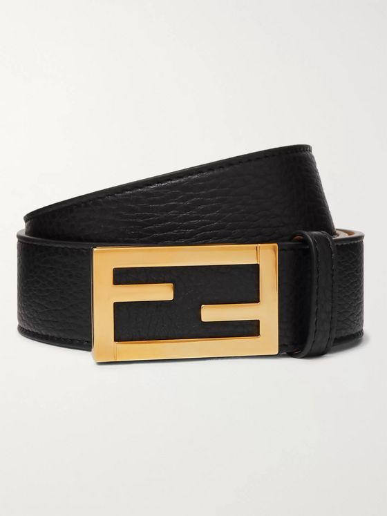 Fendi 3.5cm Black Full-Grain Leather Belt