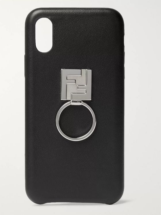 Fendi Logo-Detailed Leather iPhone X Case