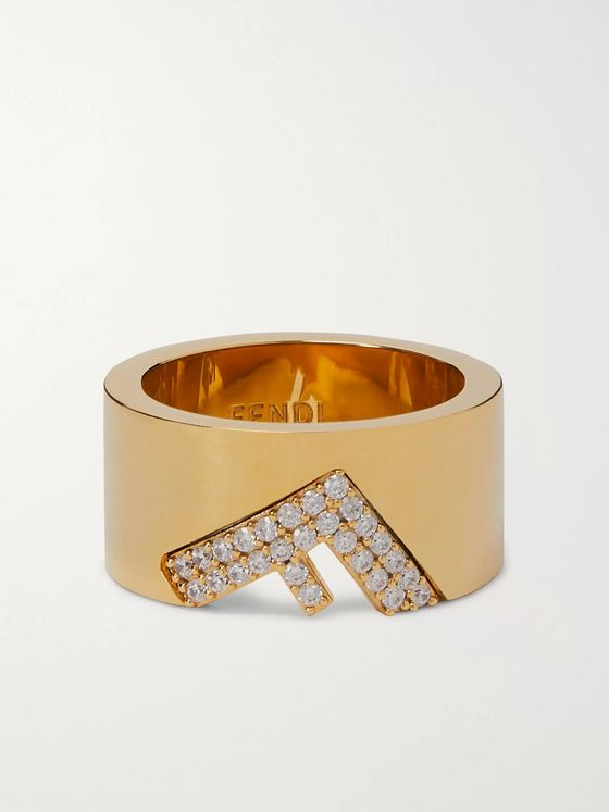 Fendi Gold-Tone and Crystal Ring
