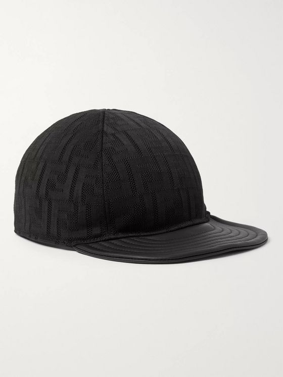 Fendi Leather-Trimmed Logo-Jacquard Mesh Baseball Cap