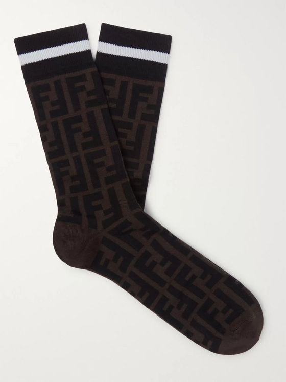 Fendi Logo-Intarsia Cotton-Blend Socks