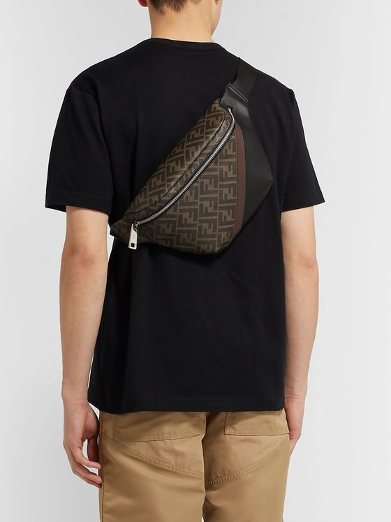 Fendi Logo-Print Coated-Canvas and Leather Belt Bag