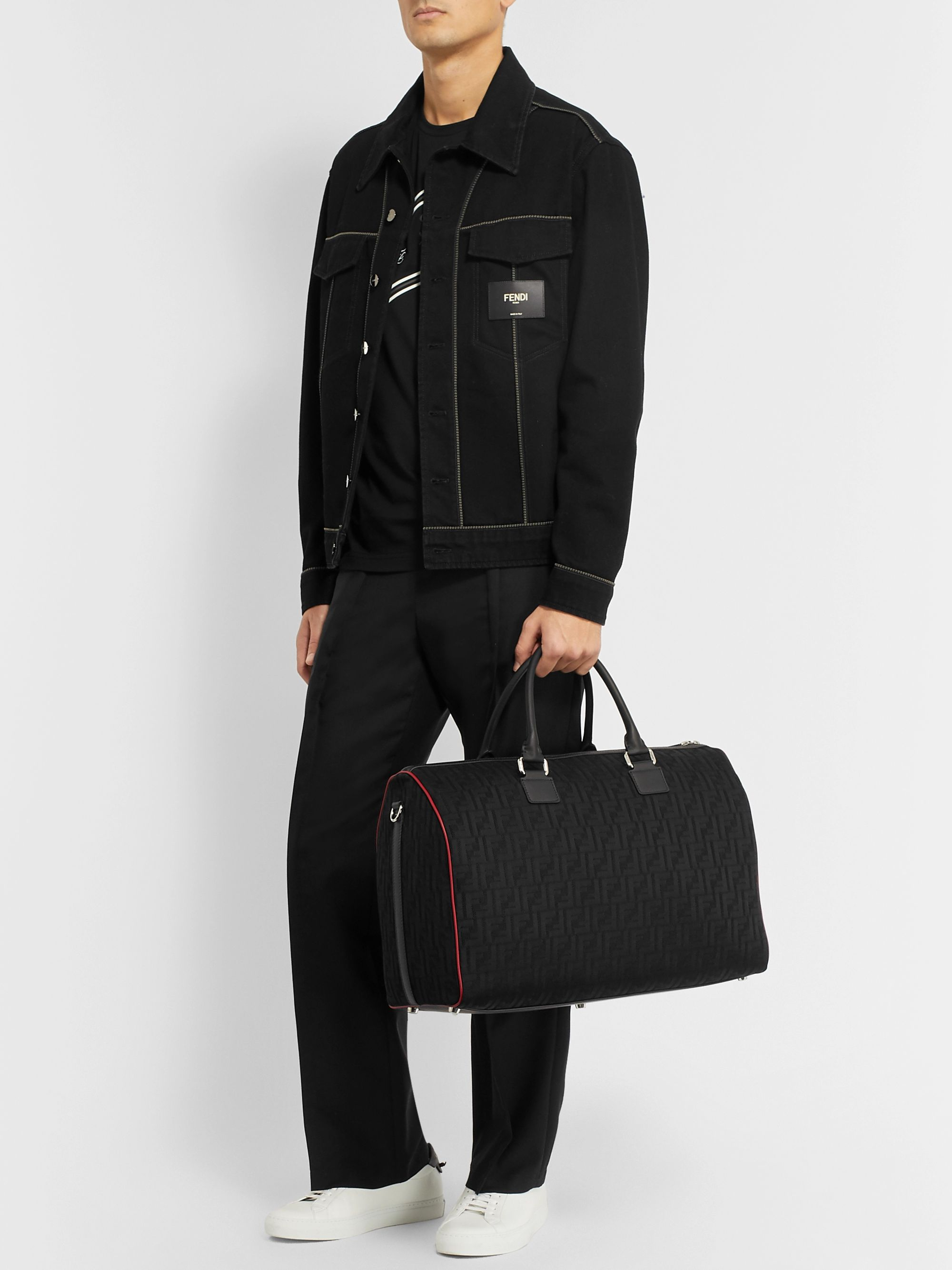 Fendi Leather-Trimmed Logo-Jacquard Mesh Duffle Bag