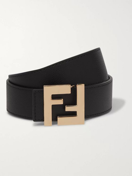 Fendi 3.5cm Black and Brown Reversible Leather Belt